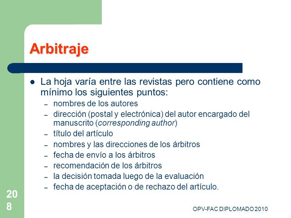 Arbitraje La hoja varía entre las revistas pero contiene como mínimo los siguientes puntos: nombres de los autores.