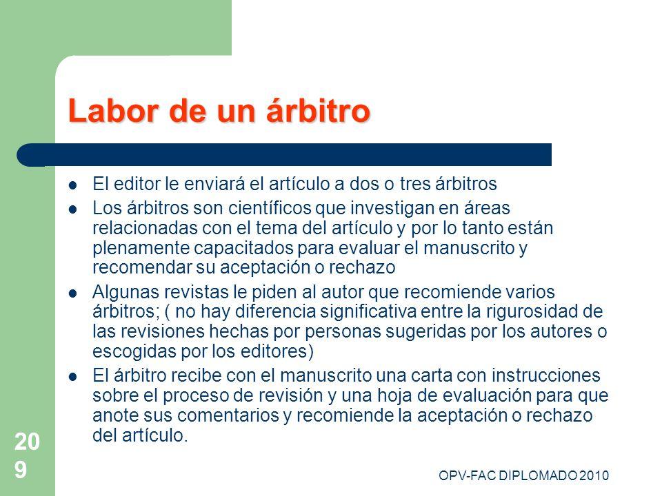 Labor de un árbitroEl editor le enviará el artículo a dos o tres árbitros.