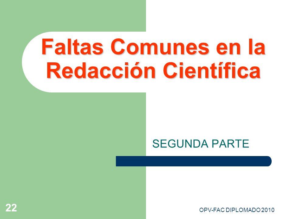 Faltas Comunes en la Redacción Científica