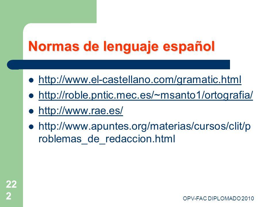 Normas de lenguaje español