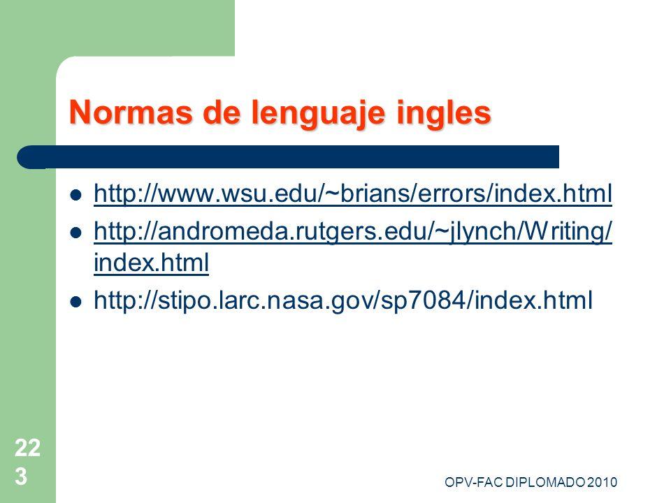 Normas de lenguaje ingles