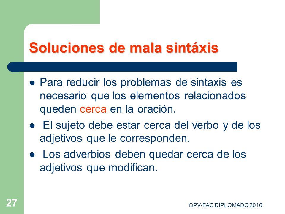 Soluciones de mala sintáxis