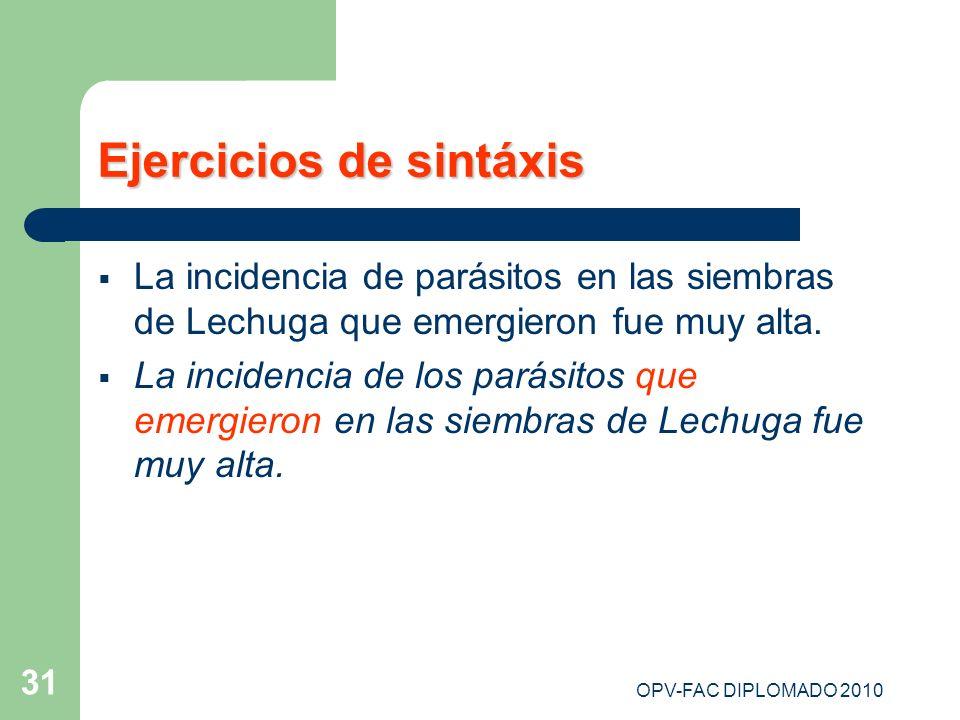 Ejercicios de sintáxis