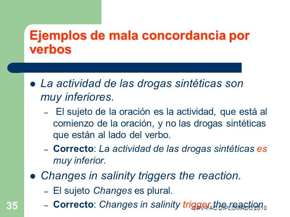 Ejemplos de mala concordancia por verbos