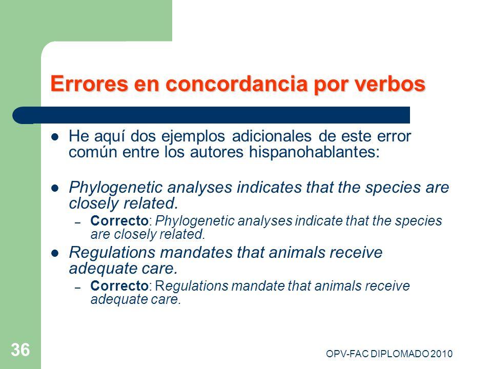 Errores en concordancia por verbos