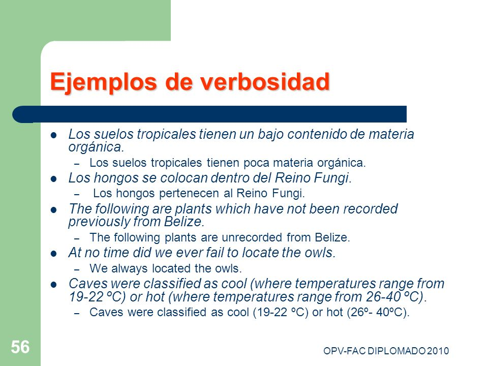 Ejemplos de verbosidad