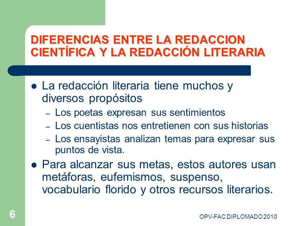 DIFERENCIAS ENTRE LA REDACCION CIENTÍFICA Y LA REDACCIÓN LITERARIA