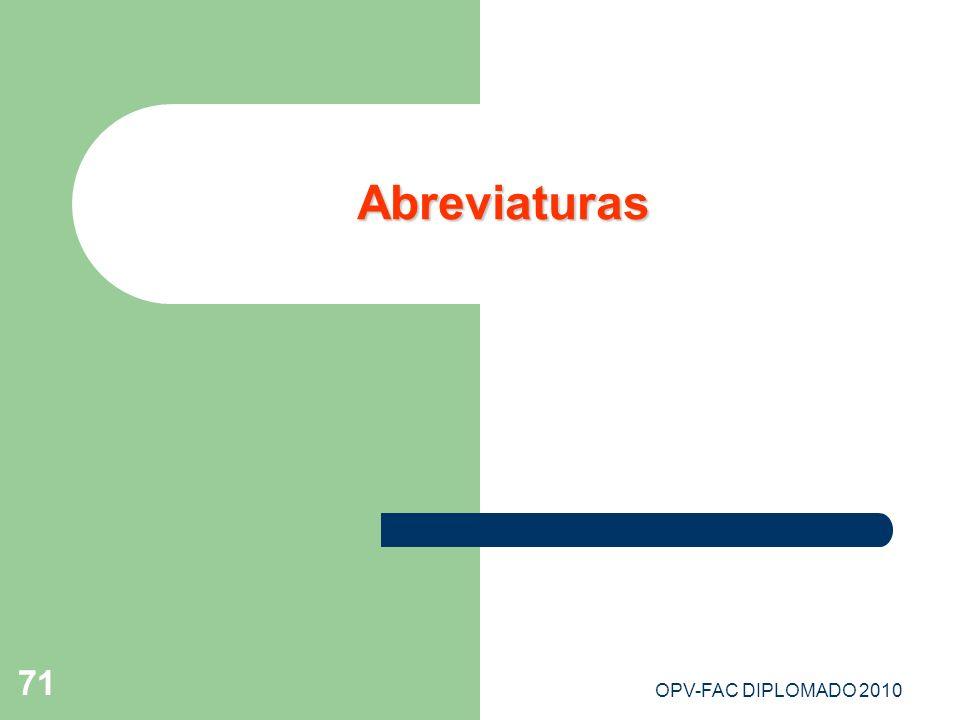 Abreviaturas OPV-FAC DIPLOMADO 2010