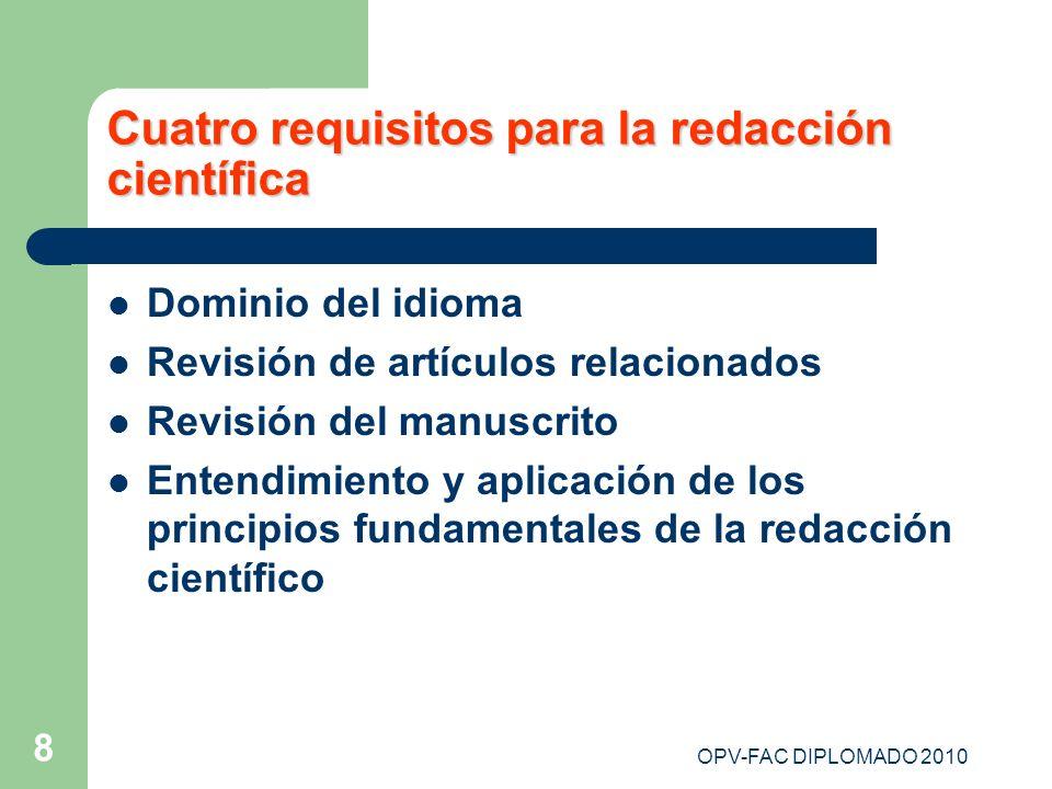 Cuatro requisitos para la redacción científica