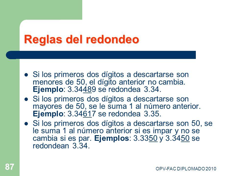 Reglas del redondeo Si los primeros dos dígitos a descartarse son menores de 50, el dígito anterior no cambia. Ejemplo: 3.34489 se redondea 3.34.