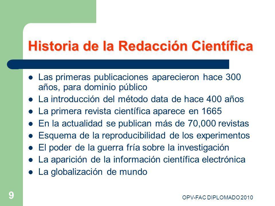 Historia de la Redacción Científica