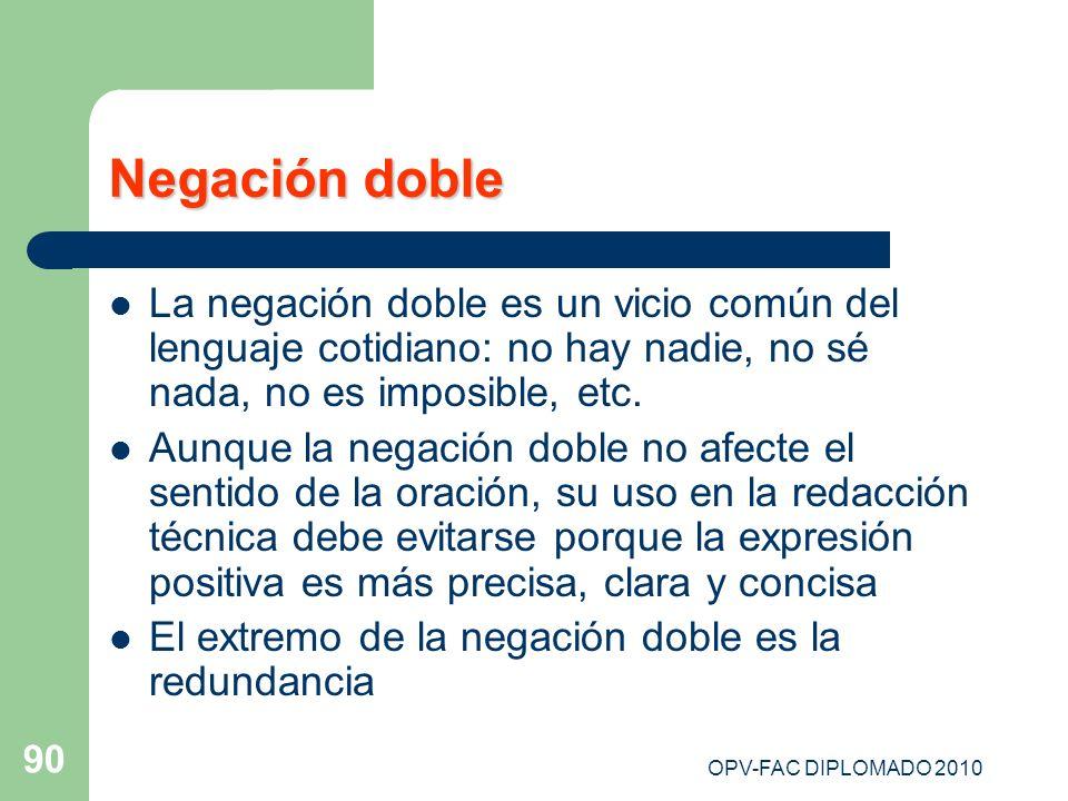 Negación dobleLa negación doble es un vicio común del lenguaje cotidiano: no hay nadie, no sé nada, no es imposible, etc.