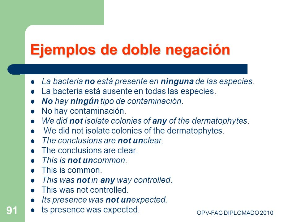 Ejemplos de doble negación