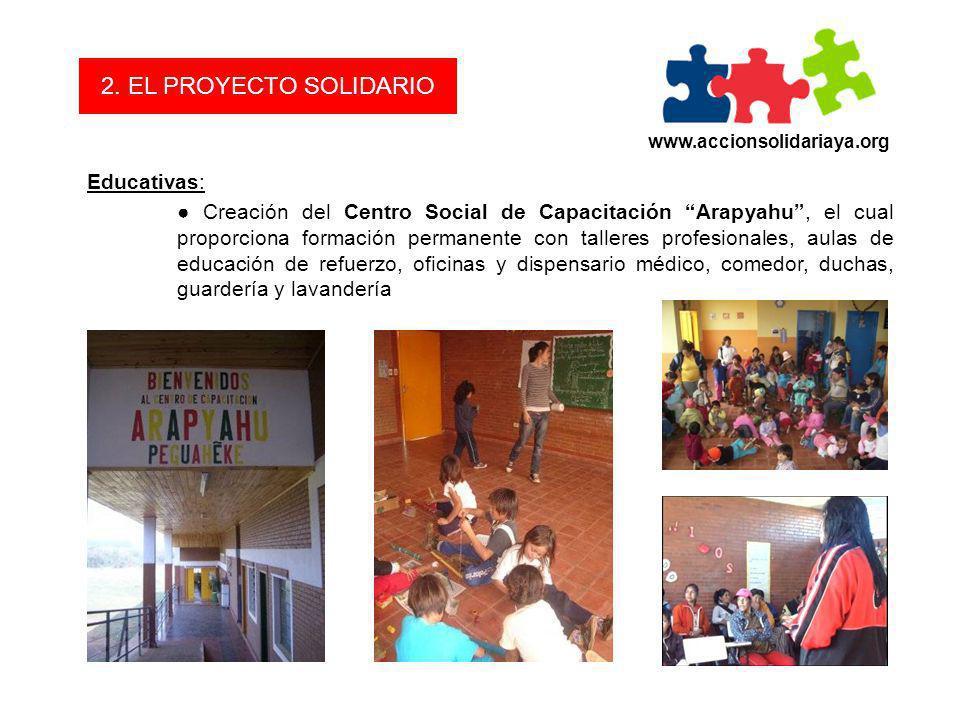2. EL PROYECTO SOLIDARIO Educativas: