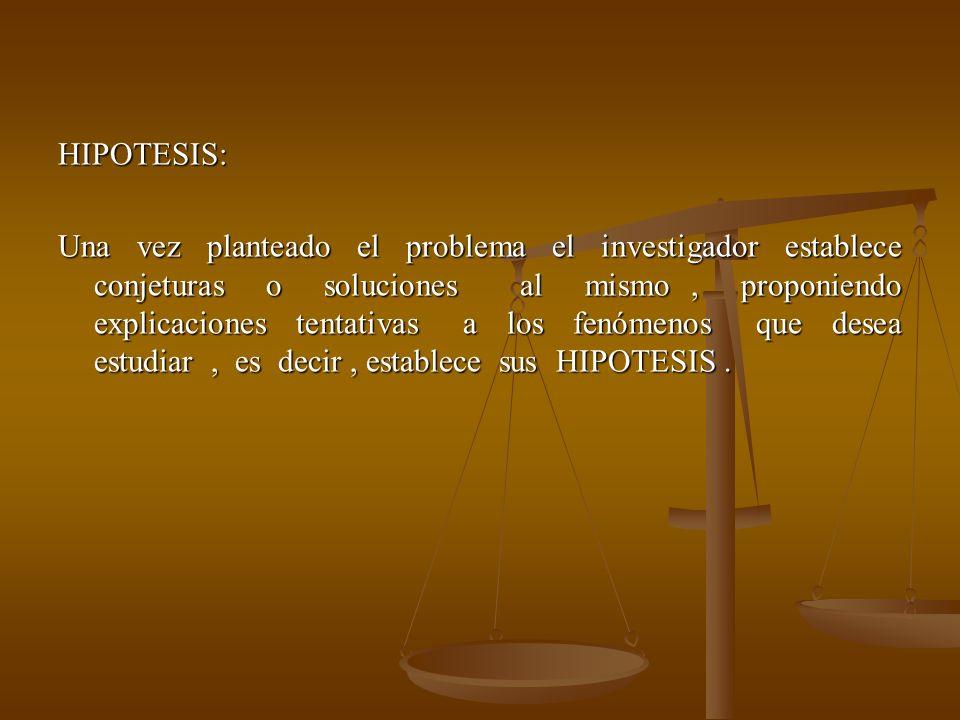 HIPOTESIS: Una vez planteado el problema el investigador establece conjeturas o soluciones al mismo , proponiendo explicaciones tentativas a los fenómenos que desea estudiar , es decir , establece sus HIPOTESIS .