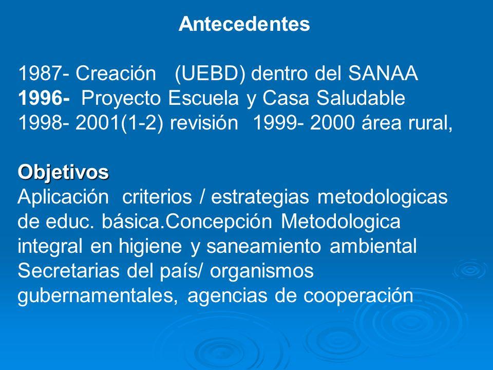 Antecedentes 1987- Creación (UEBD) dentro del SANAA. 1996- Proyecto Escuela y Casa Saludable. 1998- 2001(1-2) revisión 1999- 2000 área rural,