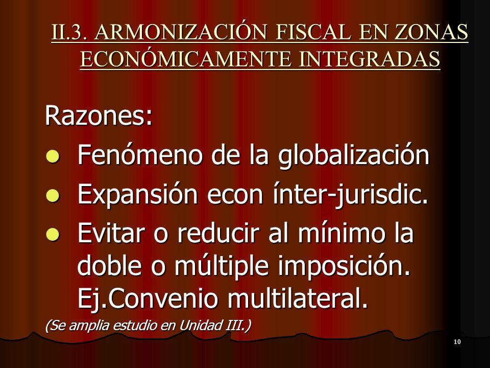 II.3. ARMONIZACIÓN FISCAL EN ZONAS ECONÓMICAMENTE INTEGRADAS