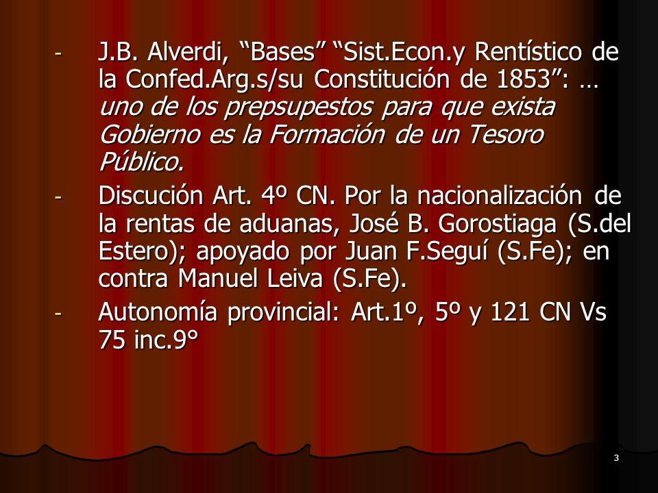 J. B. Alverdi, Bases Sist. Econ. y Rentístico de la Confed. Arg