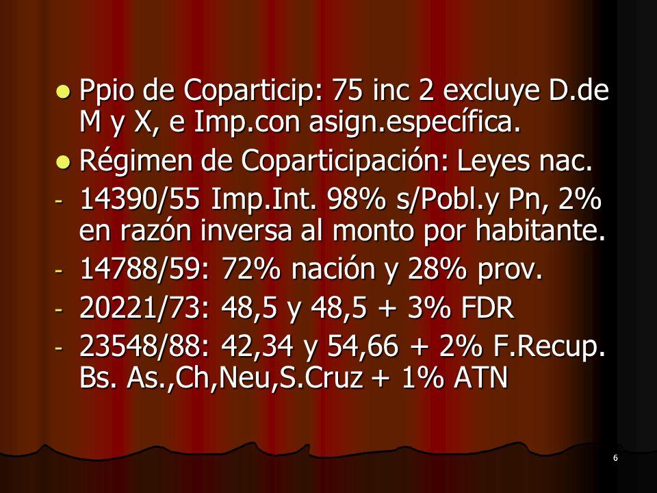 Ppio de Coparticip: 75 inc 2 excluye D. de M y X, e Imp. con asign
