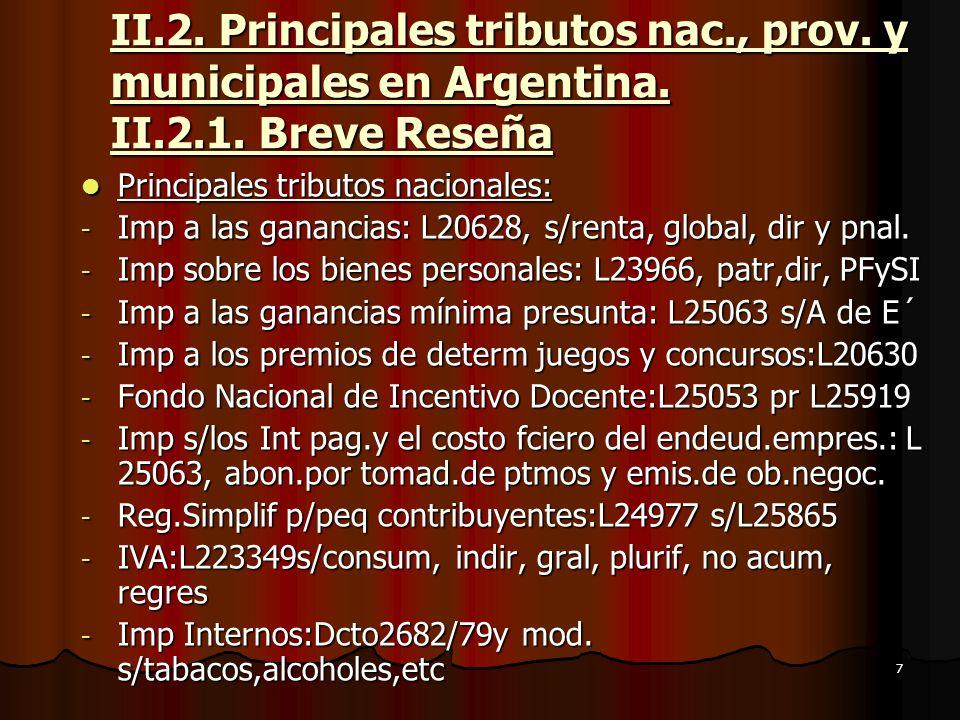 II.2. Principales tributos nac., prov. y municipales en Argentina. II.2.1. Breve Reseña
