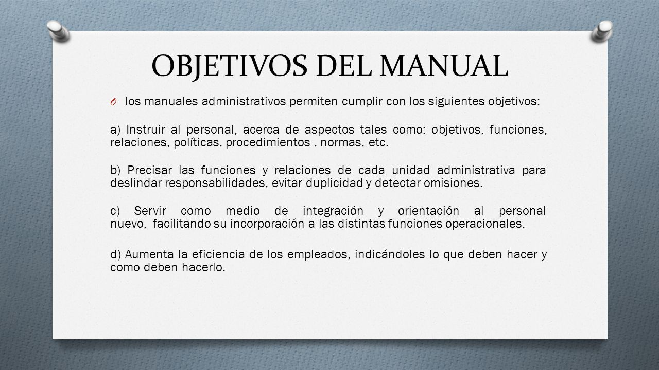Manual de procedimientos administrativos ppt video for Manual de operaciones de un restaurante ejemplo