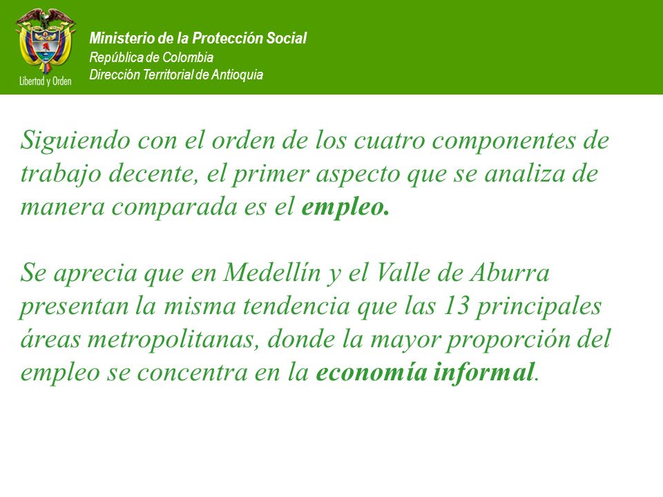 Siguiendo con el orden de los cuatro componentes de trabajo decente, el primer aspecto que se analiza de manera comparada es el empleo. Se aprecia que en Medellín y el Valle de Aburra presentan la misma tendencia que las 13 principales áreas metropolitanas, donde la mayor proporción del empleo se concentra en la economía informal.