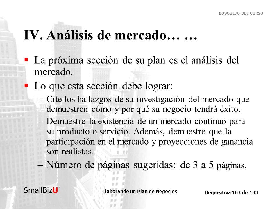 IV. Análisis de mercado… …