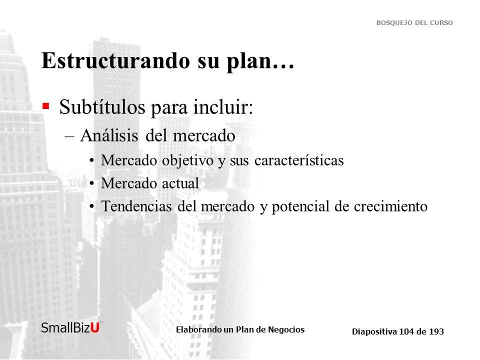Estructurando su plan…