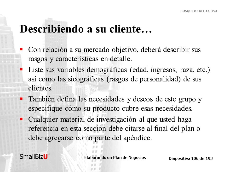 Describiendo a su cliente…