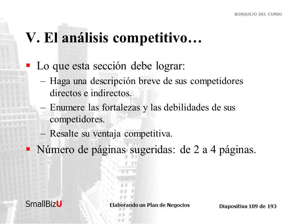 V. El análisis competitivo…