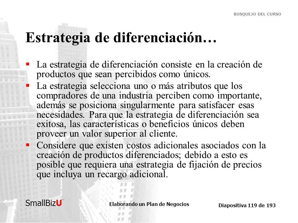 Estrategia de diferenciación…