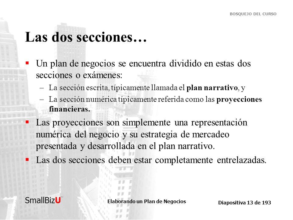 Las dos secciones… Un plan de negocios se encuentra dividido en estas dos secciones o exámenes: