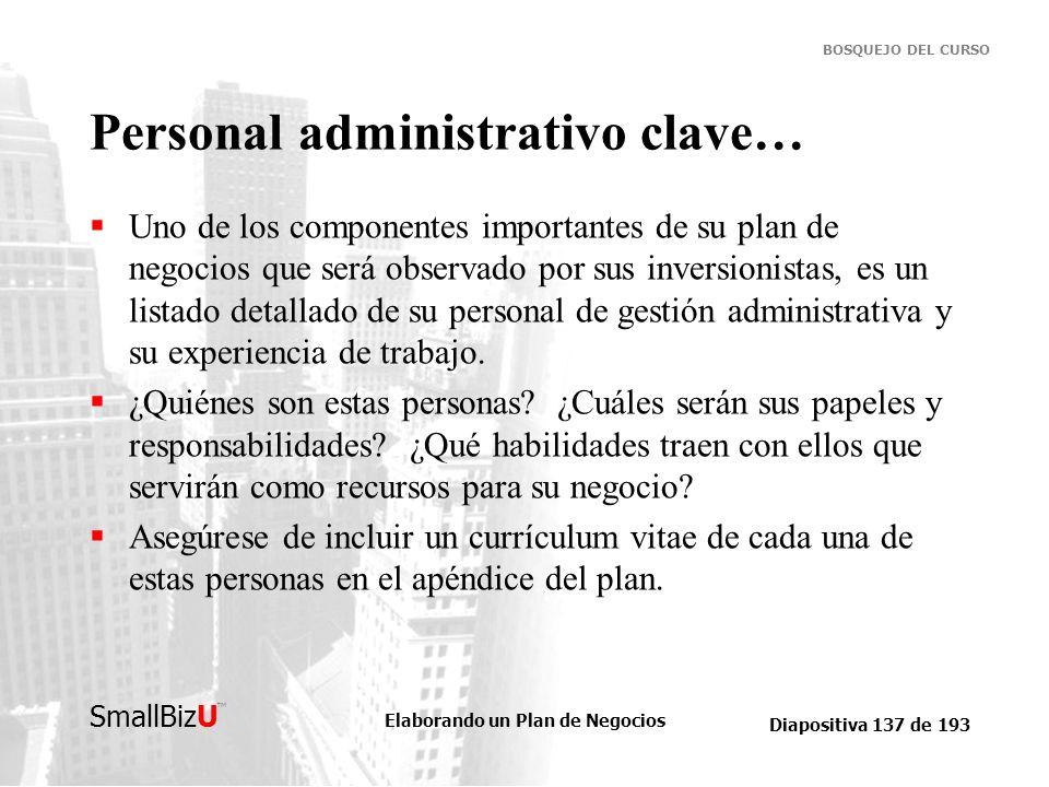 Personal administrativo clave…