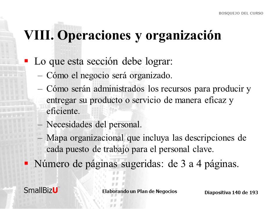 VIII. Operaciones y organización