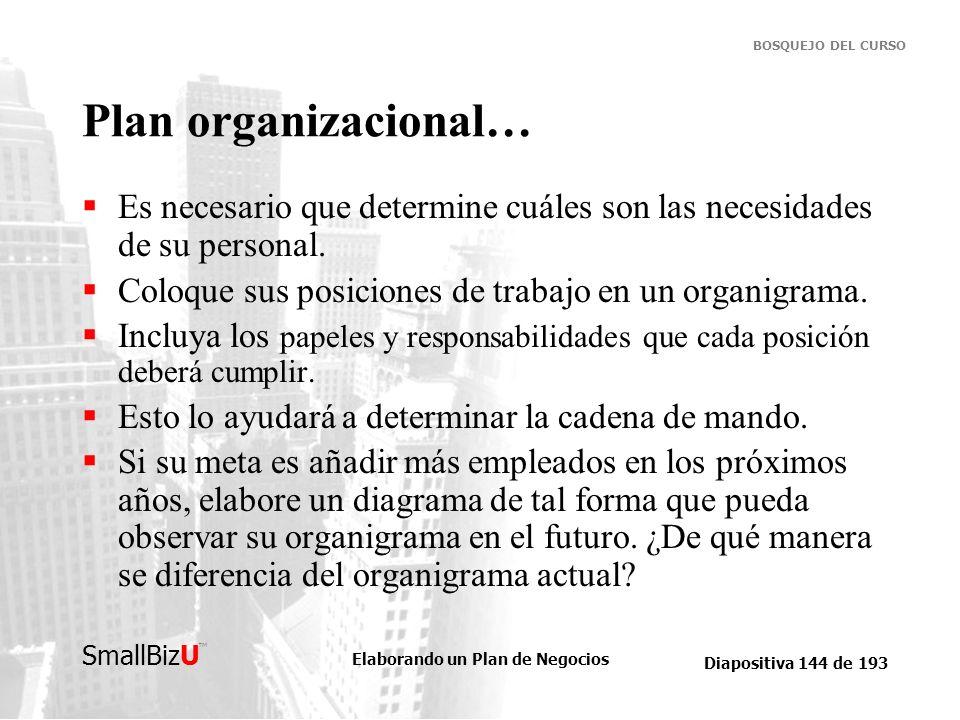 Plan organizacional…Es necesario que determine cuáles son las necesidades de su personal. Coloque sus posiciones de trabajo en un organigrama.