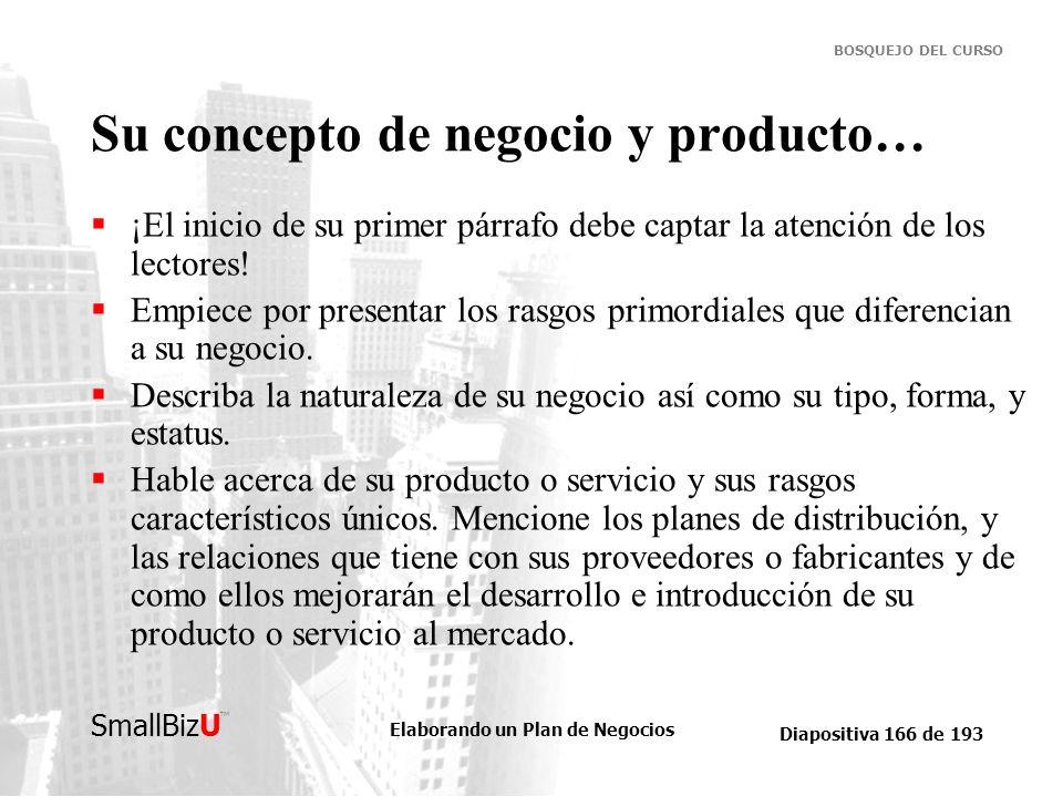 Su concepto de negocio y producto…