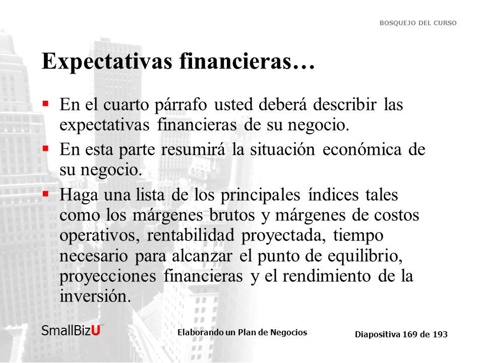 Expectativas financieras…
