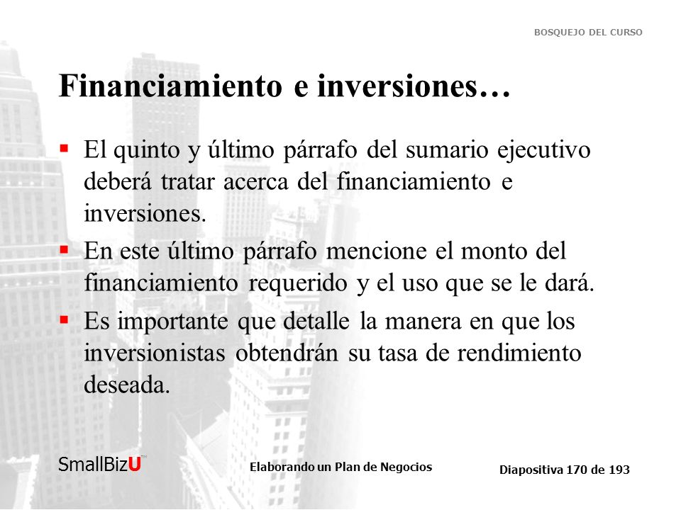 Financiamiento e inversiones…