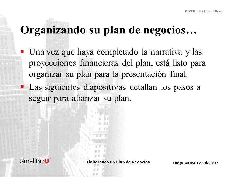 Organizando su plan de negocios…