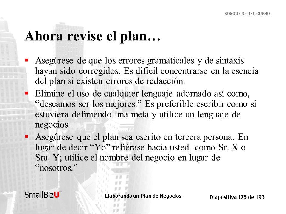 Ahora revise el plan…