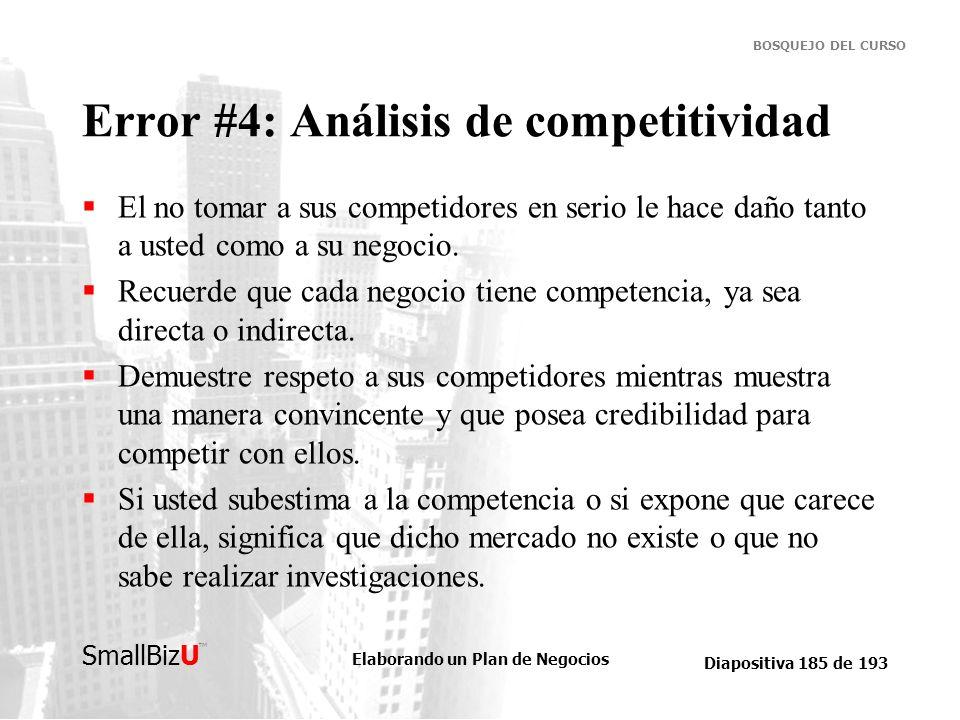 Error #4: Análisis de competitividad