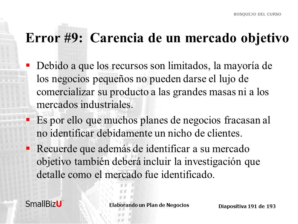 Error #9: Carencia de un mercado objetivo