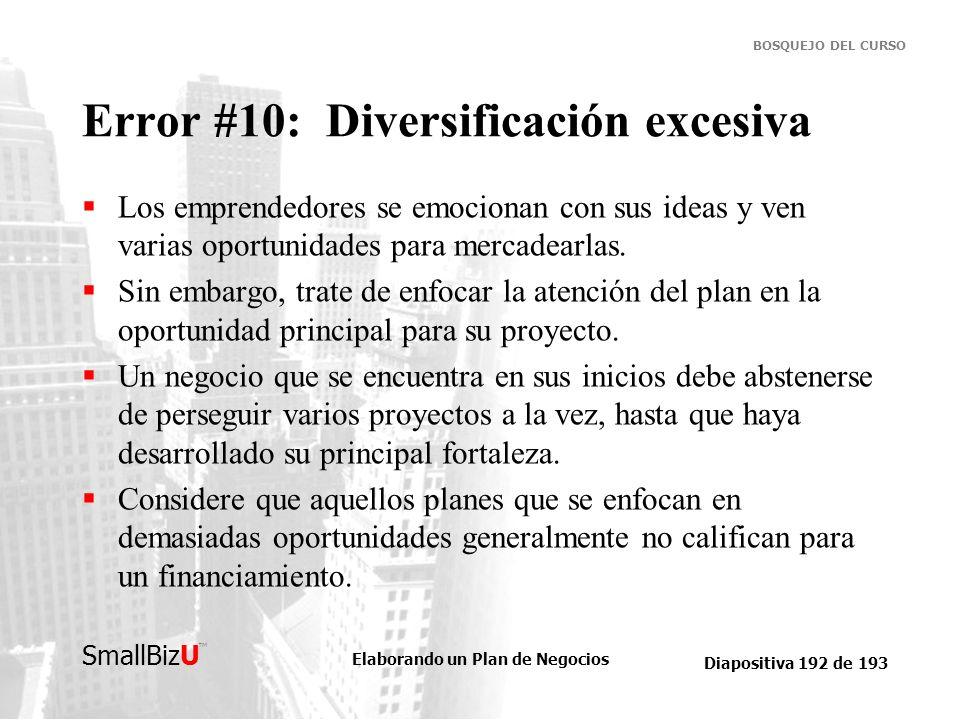 Error #10: Diversificación excesiva