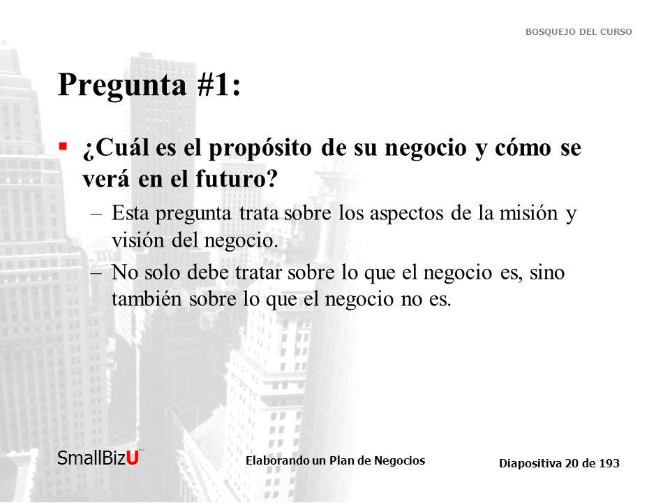 Pregunta #1: ¿Cuál es el propósito de su negocio y cómo se verá en el futuro
