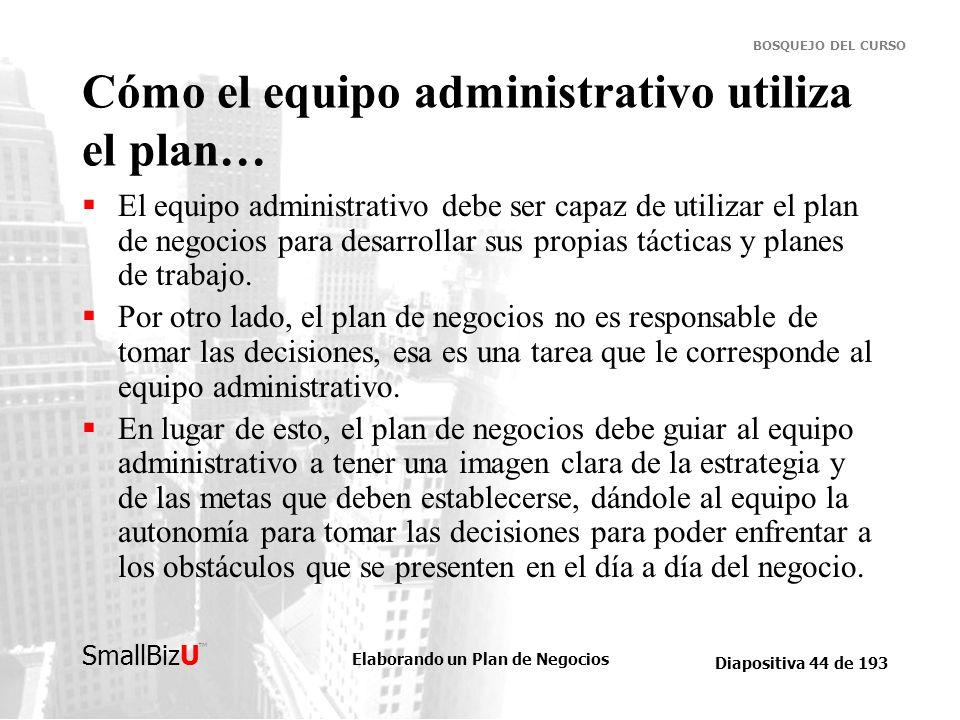 Cómo el equipo administrativo utiliza el plan…