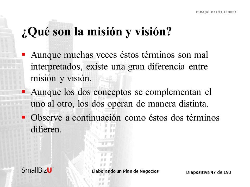 ¿Qué son la misión y visión