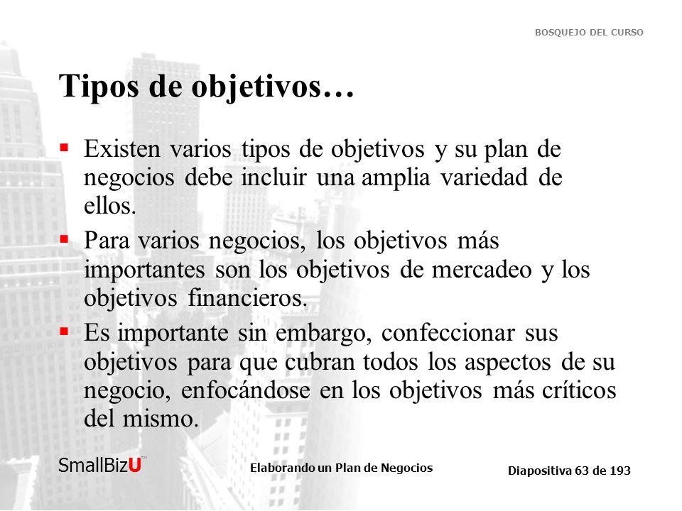 Tipos de objetivos… Existen varios tipos de objetivos y su plan de negocios debe incluir una amplia variedad de ellos.