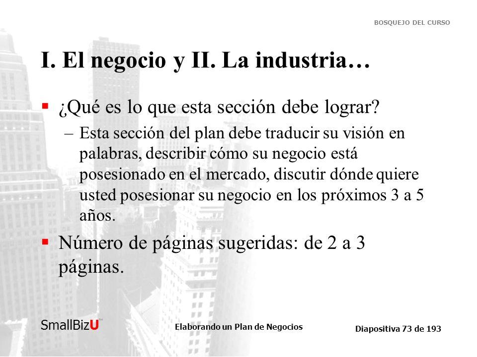 I. El negocio y II. La industria…