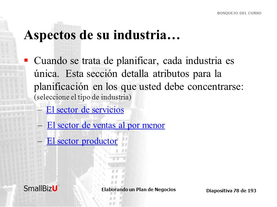 Aspectos de su industria…