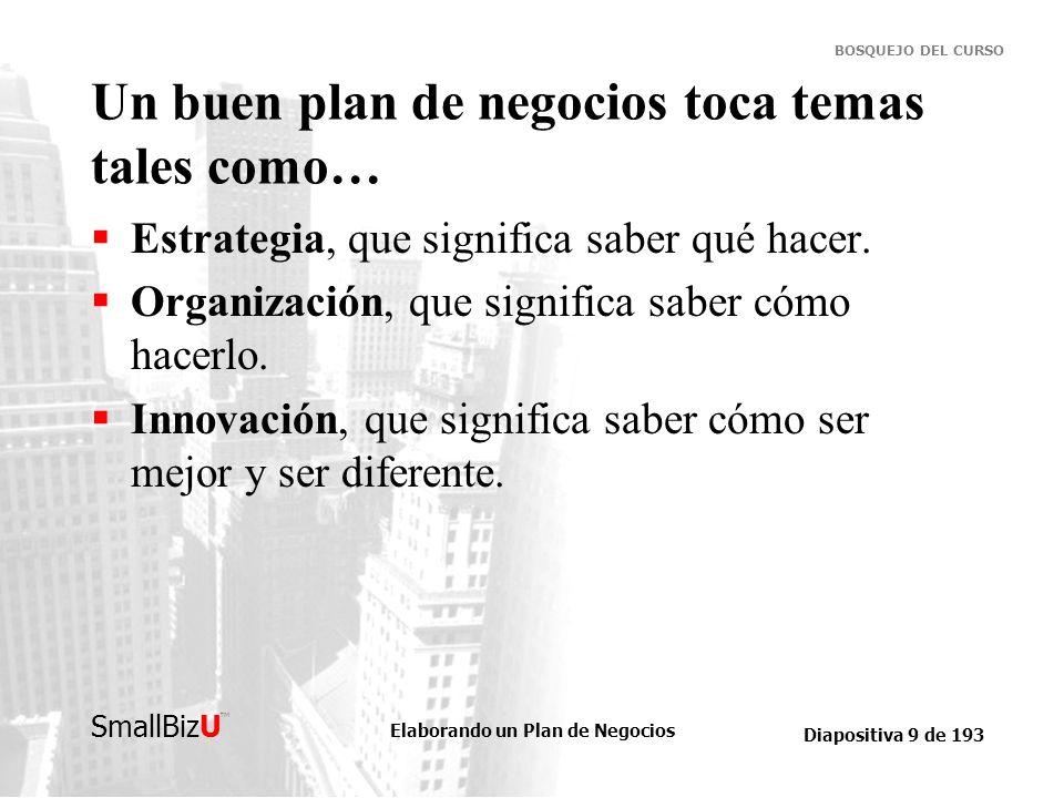 Un buen plan de negocios toca temas tales como…